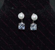 Beautiful Ladies/Girls 925 Sterling Silver Plated Pearl & CZ Stud Drop Earrings