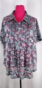 denim-24-7-Womens-Size-22W-Gray-Floral-Pintuck-Pleat-Blouse-Semi-Sheer