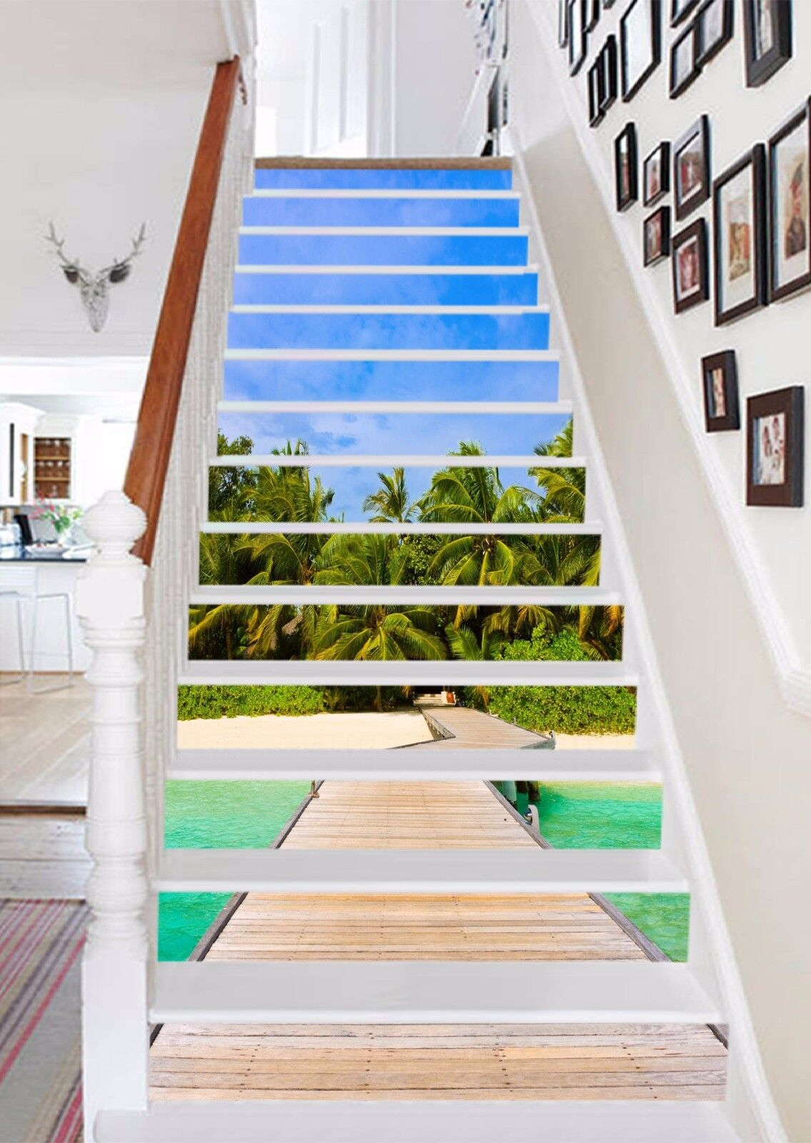 3D Sky Beach 117 Stair Risers Decoration Photo Mural Vinyl Decal Wallpaper UK