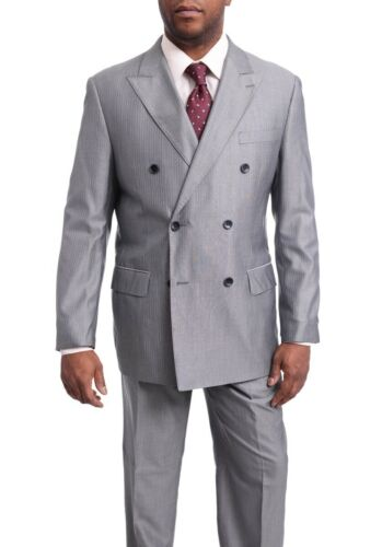 Men/'s Arthur Black Classic Fit Gray Pinstriped Double Breasted Pleated Wool Suit