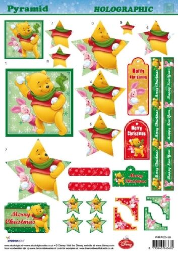 NON DIE CUT 3D DECOUPAGE FOR CARDS OR CRAFTS POOH /& PIGLET STAR CHRISTMAS