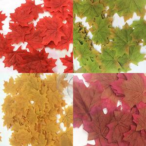 100Pcs Artificial Fall Silk Leaves Wedding Favor Autumn Maple Leaf Decorations