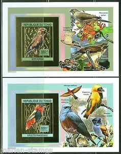 CHAD 2013 BIRDS GOLD FOIL SET OF TWO SOUVENIR SHEETS IMPERFORATED MINT NH