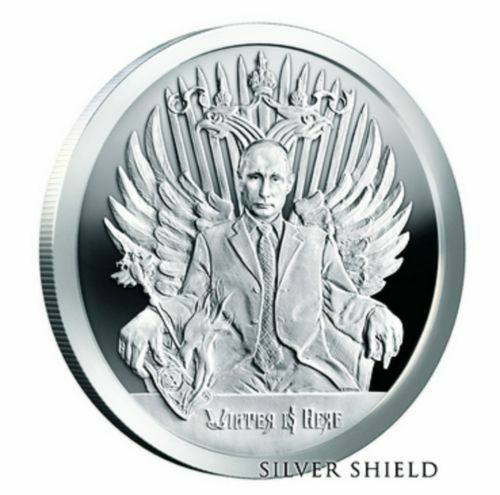 """Trump 1 OZ .999 SILVER SHIELD PROOF /""""Winter Is Here/""""  Putin death of the dollar"""