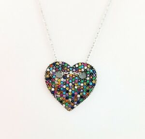 925-Sterling-Silver-Swarovski-Crystals-Heart-Charm-Pendant-Chain-Necklace