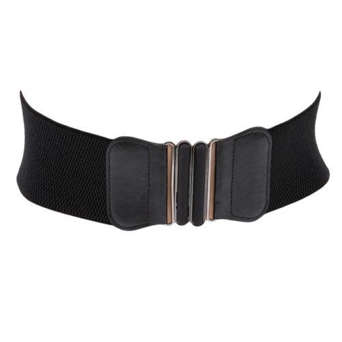 Femmes ceinture stretch bretelles large élastique PU Cuir Large Boucle en Métal Ceinture S