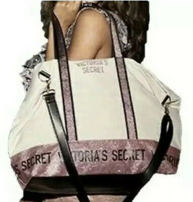 NWT Victoria's Secret Weekender Large Canvas Pink Glitter Tote Bag | eBay