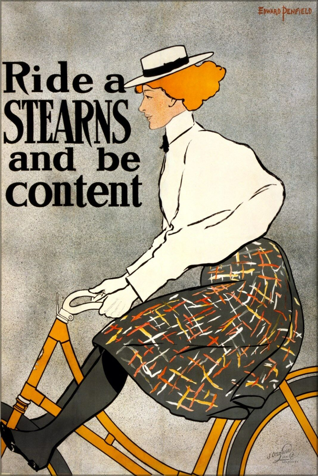 Poster, Many Größes; Ride A Stearns And Be Content, Bicycle AdGrünising Poster, 1