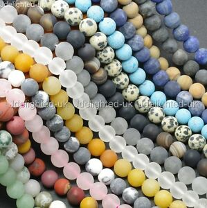 Natural-Matte-Frosted-Gemstone-Round-Loose-Beads-4mm-6mm-8mm-10mm-12mm-15-034-Pick