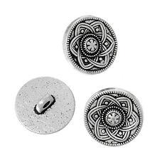 10 Metal Shank Buttons Silver Tone Flower Design 15mm