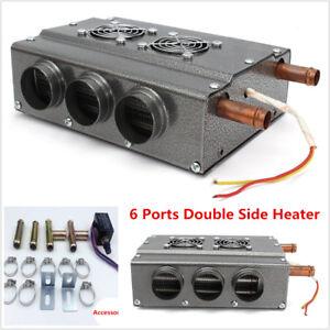 Car-12V-6-Port-Double-Side-Iron-Compact-Heater-Heat-Fan-Defroster-w-Speed-Switch
