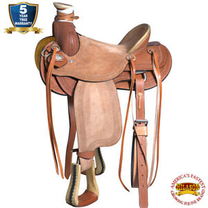 C-8-16 16 In Western Horse Saddle Leather Wade Ranch Roping Tan Hilason