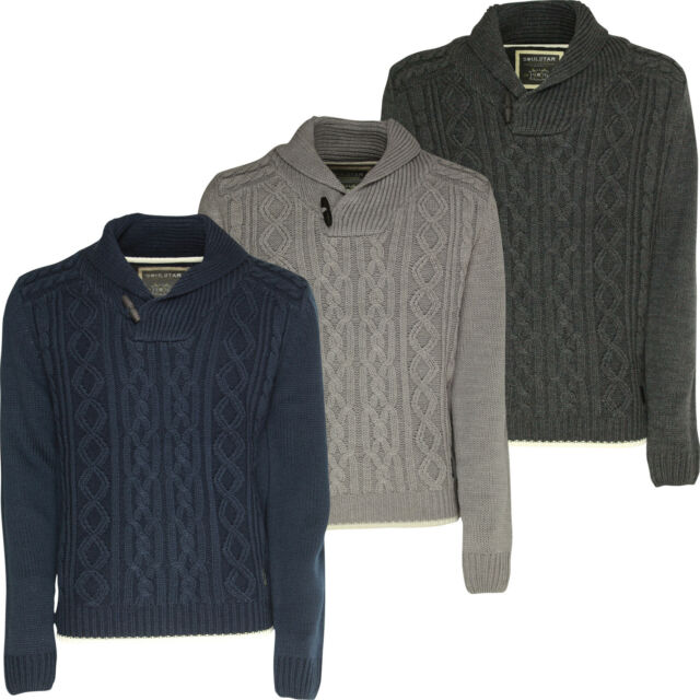Mens Jumper Soulstar Chunky Cable Knit Shawl Neck Winter Pullover Sweater Top