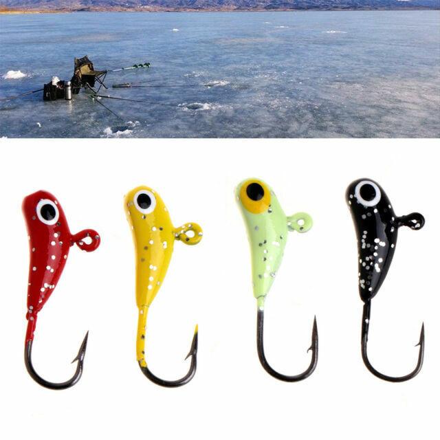 4Pcs//set Ice Fishing Bait Lead Fish Jigging Hook Artificial Jig Glow Lure Tackle
