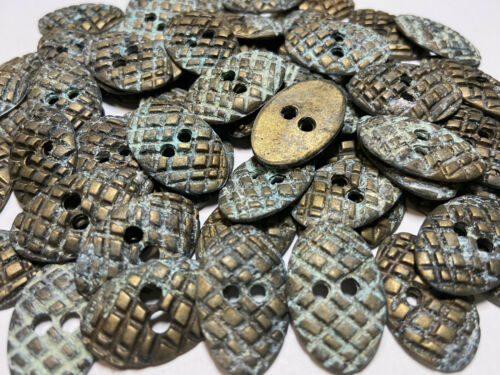 """Cast Metal Tribal Oval Shape Button Distressed Old Brass Finish 1/"""" x 5//8/"""" 2hole"""