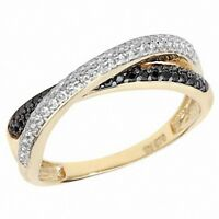 Crossover Ring Eternity Ring Black & White Ladies Ring Yellow Gold Wedding Ring
