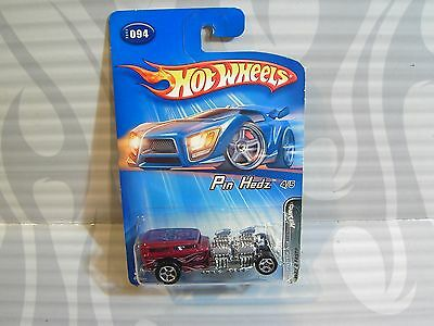 2005 HOT WHEELS /'/'PIN HEDZ/'/' #094 = WAY 2 FAST = BURGANDY  5sp 0715