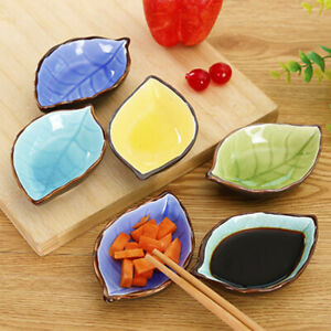 Kitchen Bowl Dish Ceramic Leaf Seasoning Soy Sauce Vinegar Small Plates SALE US