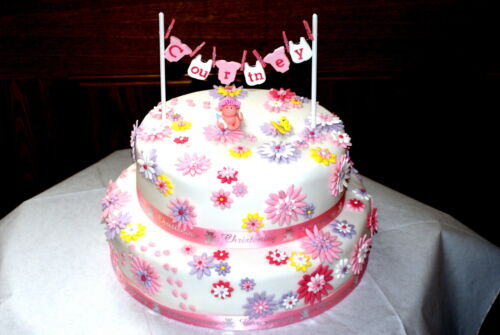 bunting custom christening Washing line baby shower cake topper personalised