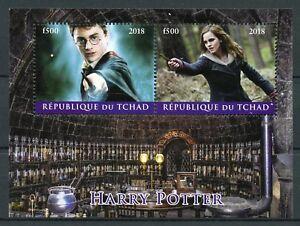 Simple Tchad 2018 Cto Harry Potter Hermione Granger 2 V M/s Films Film Timbres-afficher Le Titre D'origine