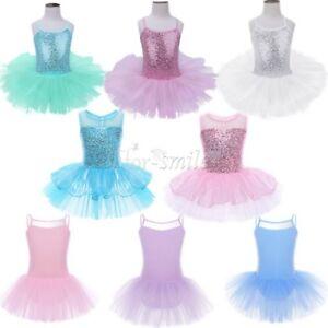 Girls-Gymnastics-Ballet-Dress-Toddler-Kids-Sequins-Leotard-Tutu-Skirt-Dance-Wear