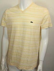 1df4f0b8 Lacoste Regular Fit V-Neck Men Strip Shirt S-Sleeve Yellow Sz 3 ...