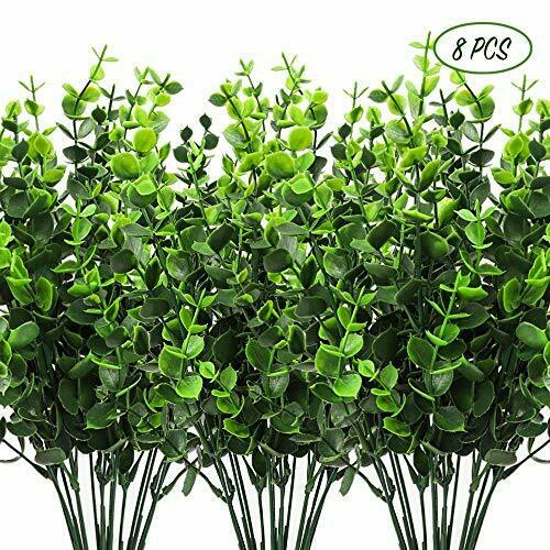 8pcs Artificial Outdoor Plants 4pcs Fake Plastic Greenery Shrubs