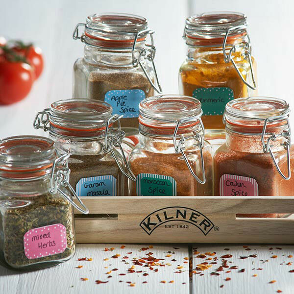 Kilner 20 Piece 70ml Spice Jar Gift Set / Storage Label & Wooden Crate Rack