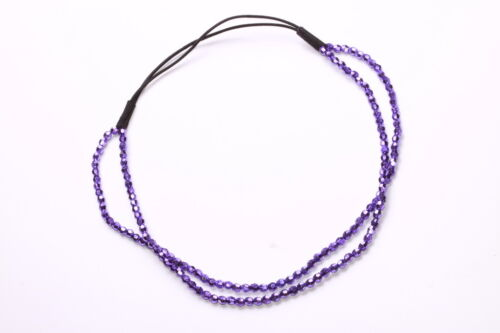 DISCO DIVA METALLIC PURPLE FACETED BEADS ELASTICATED DOUBLE ALICE BAND ZX46