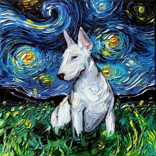 Bull Terrier Wall Art Print Dog Starry Night van Gogh Decor by Aja