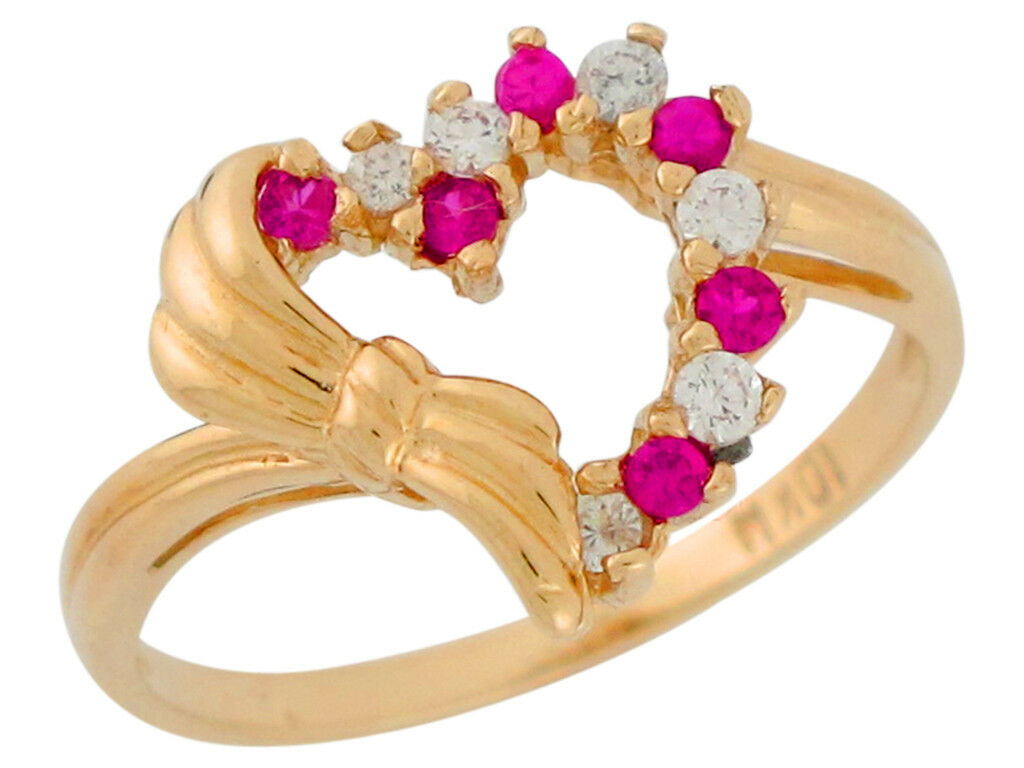 10k or 14k Yellow gold Simulated Ruby & White CZ Heart Shaped Ribbon Ladies Ring