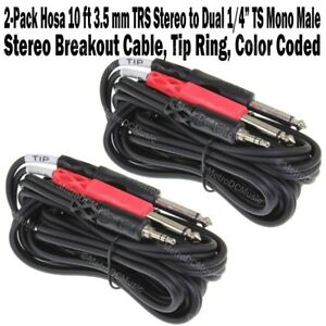 """10ft Stereo Breakout Cable 3.5mm TRS Stereo Male to Dual 1//4/"""" TS Mono Male"""