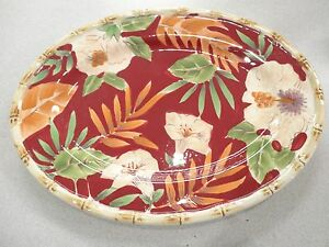 Image is loading Home-Trends-Dinnerware-Hibiscus-Pattern-12-034-OVAL- & Home Trends Dinnerware Hibiscus Pattern 12\