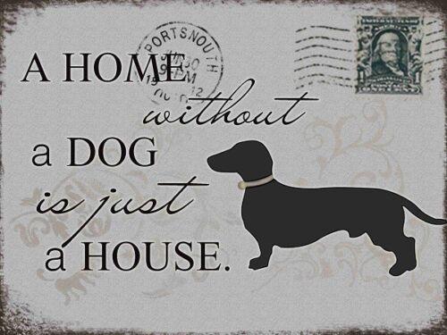 "Metallschild Hund oder Katze Blechschild /""A home without a.../"" Dekoschild Shabby"