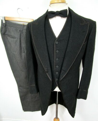 Vtg 1930s 3pc Tuxedo 36 R Button Fly NRA Label ~ W