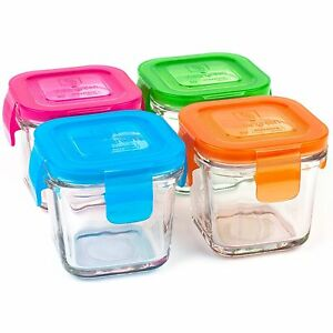 wean green wean cubes baby food glass containers multi color set of 4 4oz 120ml ebay. Black Bedroom Furniture Sets. Home Design Ideas