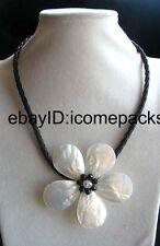 "sea shell flower white quartz necklace 18"" wholesale gift beads  nature quartz"