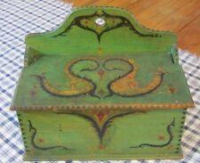 Primitive Pennsylvania Decorated Wood Hanging BOX Antique Green Paint