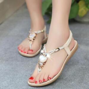 Pop-Women-Bohemian-Flat-Sandals-T-strap-Owl-Rhinestone-Herringbone-Sandals-Shoes