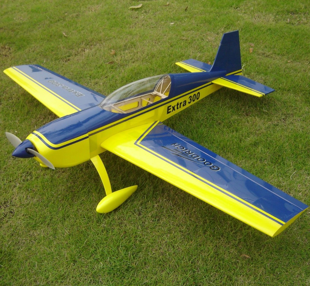 HAIKONG EXTRA 300 10E 37.2INCH Electric RC Wooden Model Airplane amarillo&azul
