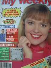 Vintage mi revista semanal 20th Puntada Cruzada Suéter señoras de marzo de 1993 recetas CE
