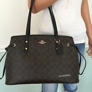 New-Coach-Signature-PVC-Leather-Carryall-Tote-Shoulder-Bag-Purse-Black-Brown
