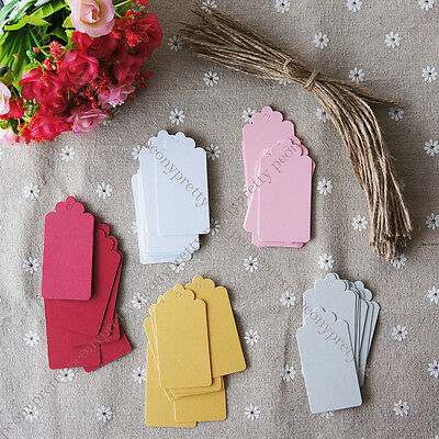 50x pearlized color hang tag label wedding favor gift card note with hemp string
