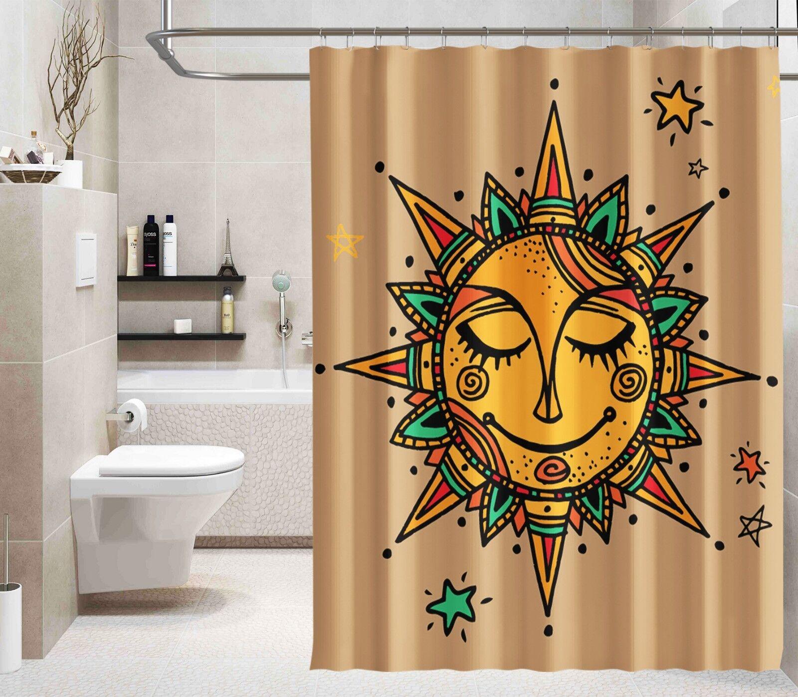 3D SUN Pattern 444 Tenda da Doccia Impermeabile Bagno IN FIBRA CASA FINESTRE WC