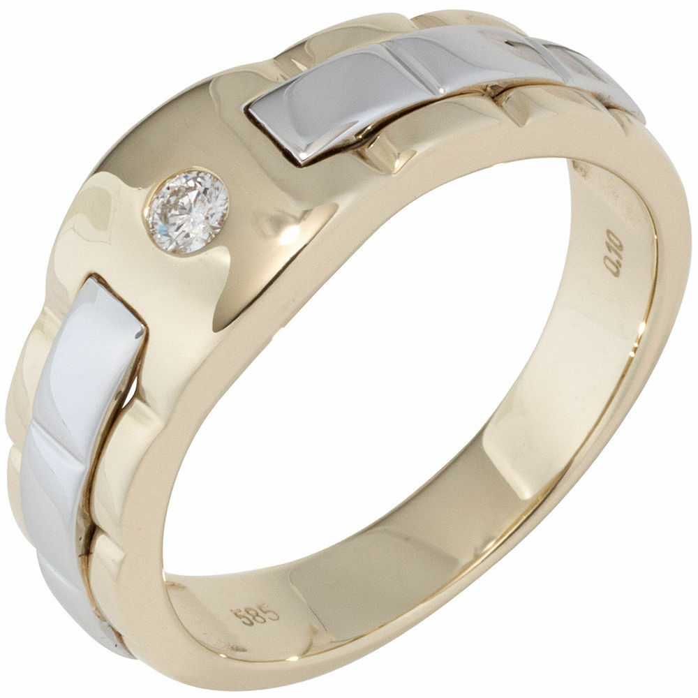 Men's Ring Made from 585 gold Yellow & White Bicolour with Diamond