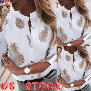 Women-V-Neck-Blouse-Tops-Ladies-Long-Sleeve-Loose-T-Shirt-Pineapple-Printed-US
