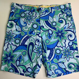 LoudMouth-Men-40-Golf-Shorts-Blue-Green-Floral-Print-Belt-Loops-amp-Front-Pockets