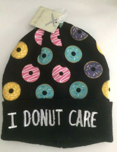 Donuts Theme NWT  Zoe /& Bella Black Knit Beanie Hat Women/'s//Girls