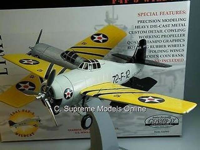 USS WASP US NAVY F4F-3 VF-72 '41 MODEL AIRCRAFT MILITARY WILDCAT GEARBOX 1 32 T3