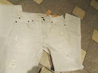 American Eagle Slim Core Flex Jeans Mens 38x32 Lt Gray Destroyed Free Ship